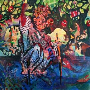 "Through the vines 60x60"" oil, acrylic and spray paint on canvas"
